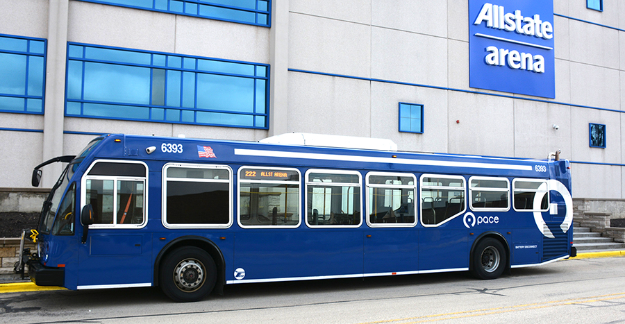 Pace Bus outside of Allstate Arena