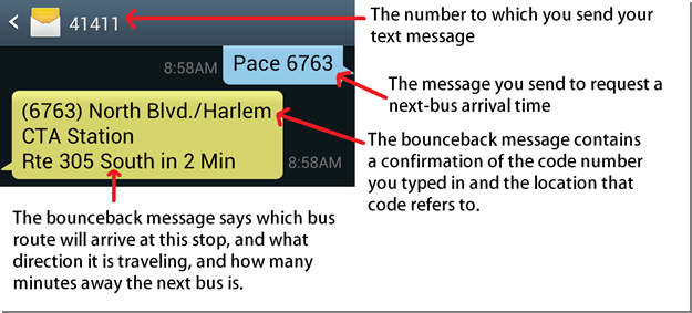 This is an image of what your phone screen will look like if you sign up for Pace's bus tracker text messaging service.