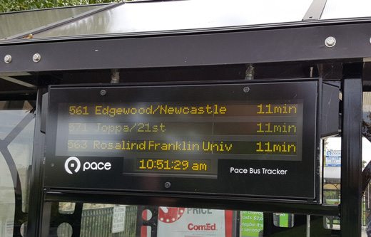 This is a closeup image of a digital bus tracker sign.