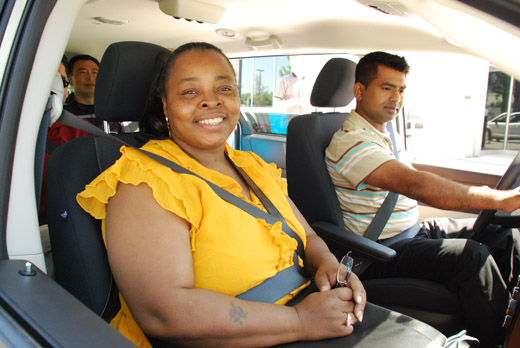 This is an image of people inside a Pace vanpool van.