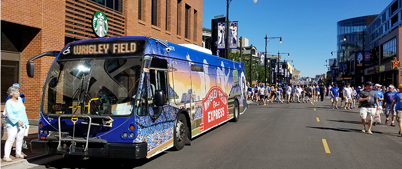 Image of Pace Express Bus Outside of Wrigley Field