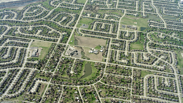 This is a bird's eye view image of a suburban city grid