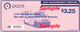 This is an image of an ADA paratransit ticket