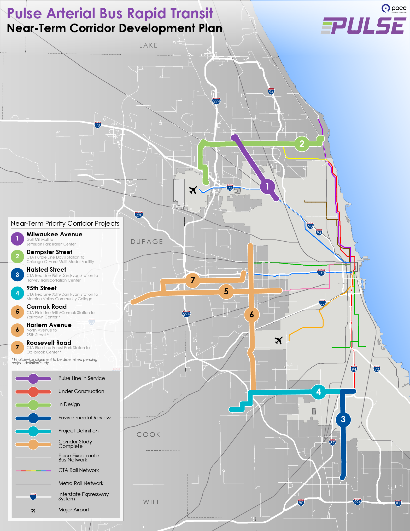 This is an image of Pulse routes proposed by Pace's Development Plan, which will be completed near term