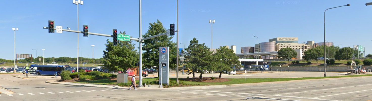 Image of the entrance to the Rosemont Transit Center