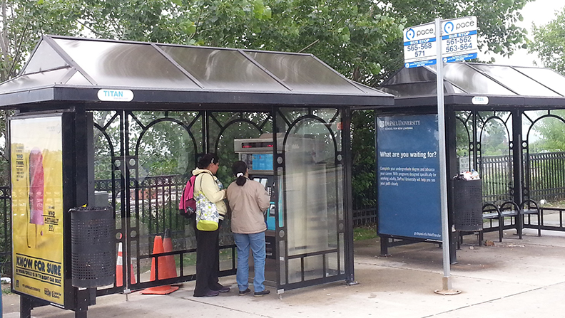 Image of Pace bus shelters in Waukegan