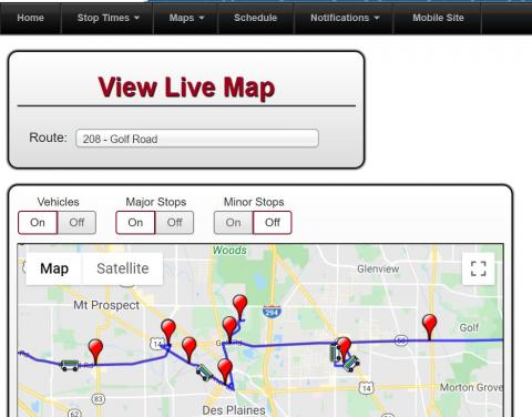 "This is an image of what your screen would look like when using Pace's online bus tracker ""live map"" feature."