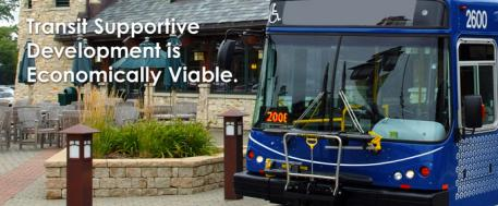 "This is an image of a Pace bus with the caption ""Transit Supportive Guidelines is Economically Viable"""