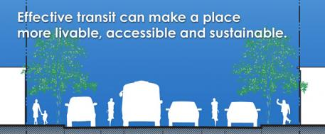 "This is a graphic of vehicles on a road with the caption ""Effective transit can make a place more livable, accessible and sustainable."""