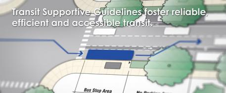 "This is an image of traffic grid rendering, with the caption ""Transit Supportive Guidelines foster reliable, efficient and accessible transit."""